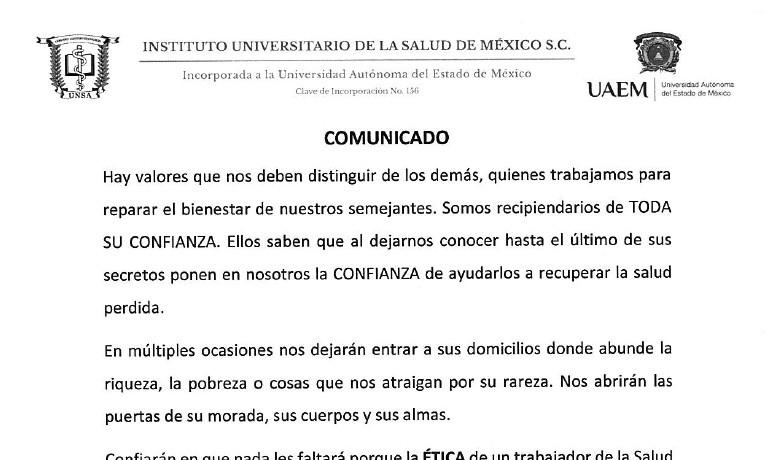 UNSA - Comunicado Rector